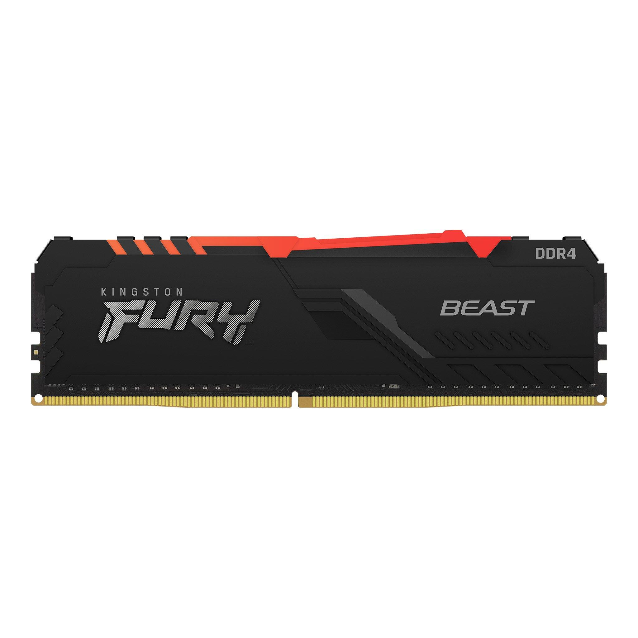 Памет Kingston FURY Beast Black RGB 16GB DDR4 PC4-28800 3600MHz CL18 KF436C18BBA/16