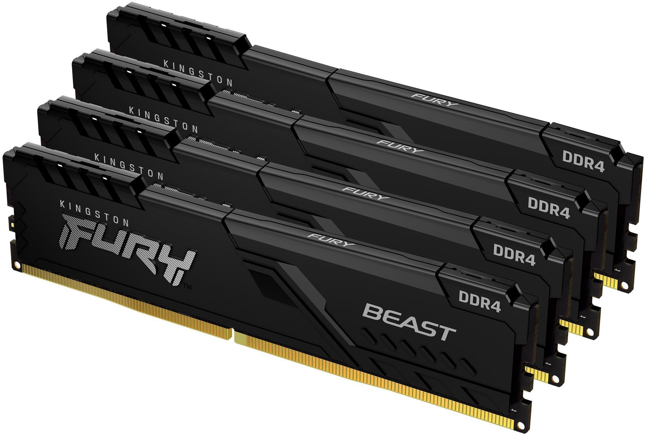 Памет Kingston FURY Beast Black 32GB(4x8GB) DDR4 PC4-28800 3600MHz CL17 KF436C17BBK4/32