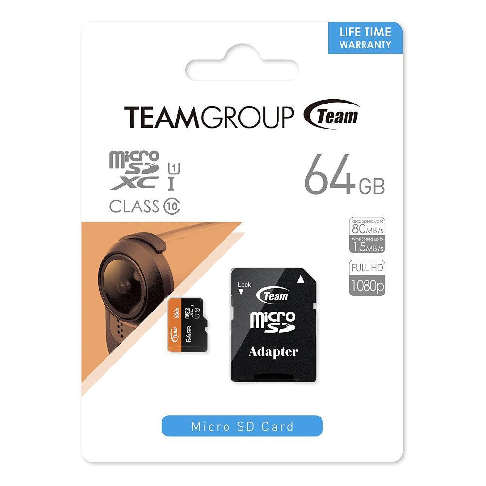 Карта памет Team Group 64GB Micro SDHC/SDXC UHS-I Orange Card + SD Adapter-2
