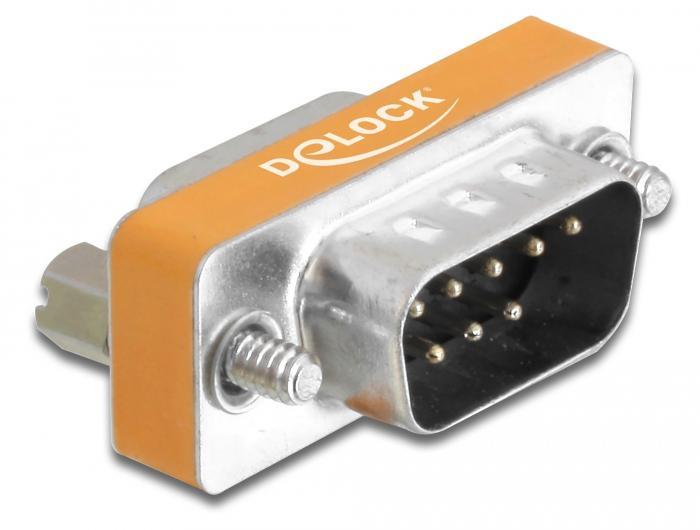 Адаптер DeLock D-Sub 9 Pin мъжко - D-Sub 9 женско, Сив
