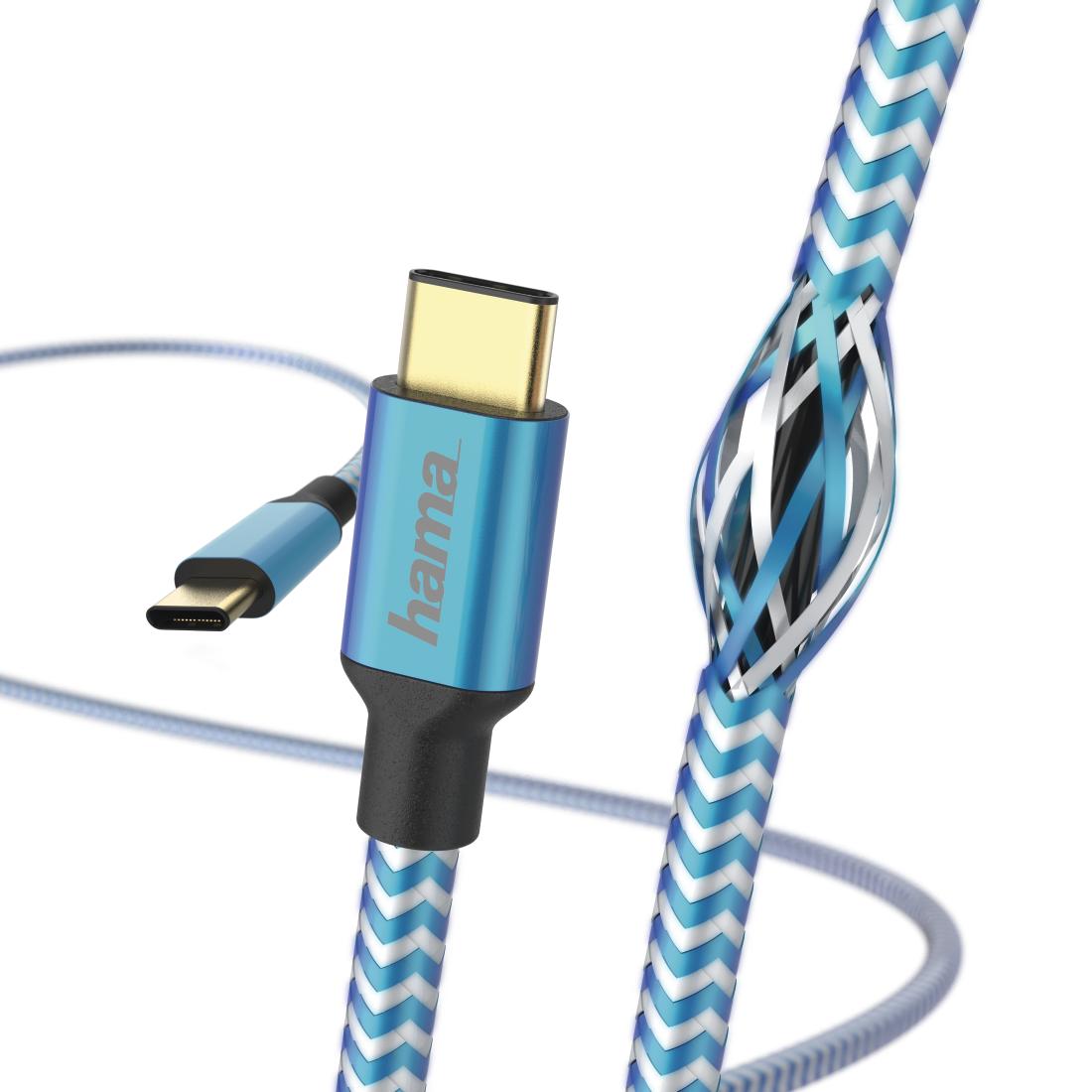 Кабел HAMA Reflective, USB-C мъжко - USB-C мъжко, 480 Mbps, 1.5 м., Син