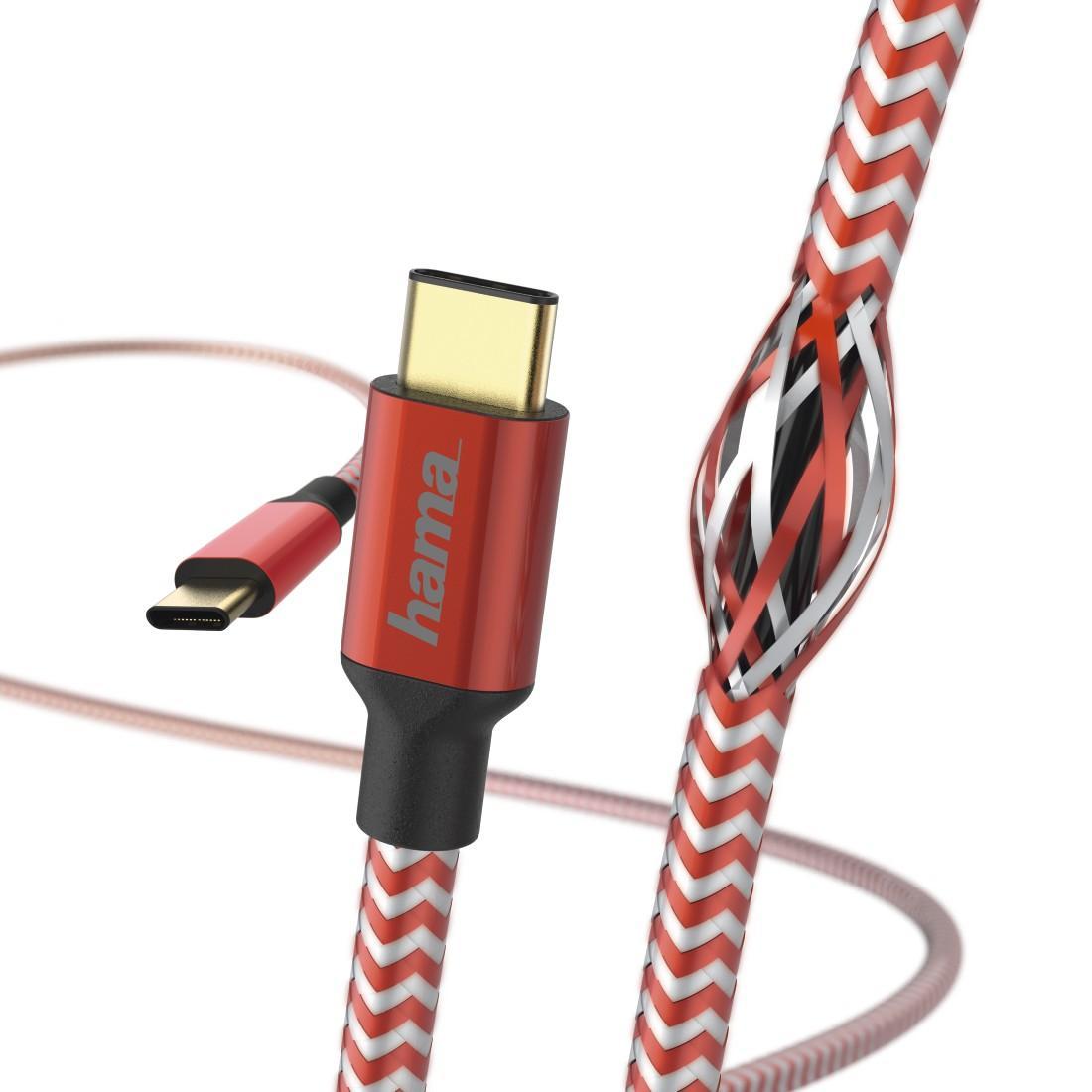 Кабел HAMA Reflective, USB-C мъжко - USB-C мъжко, 480 Mbps, 1.5 м., Червен