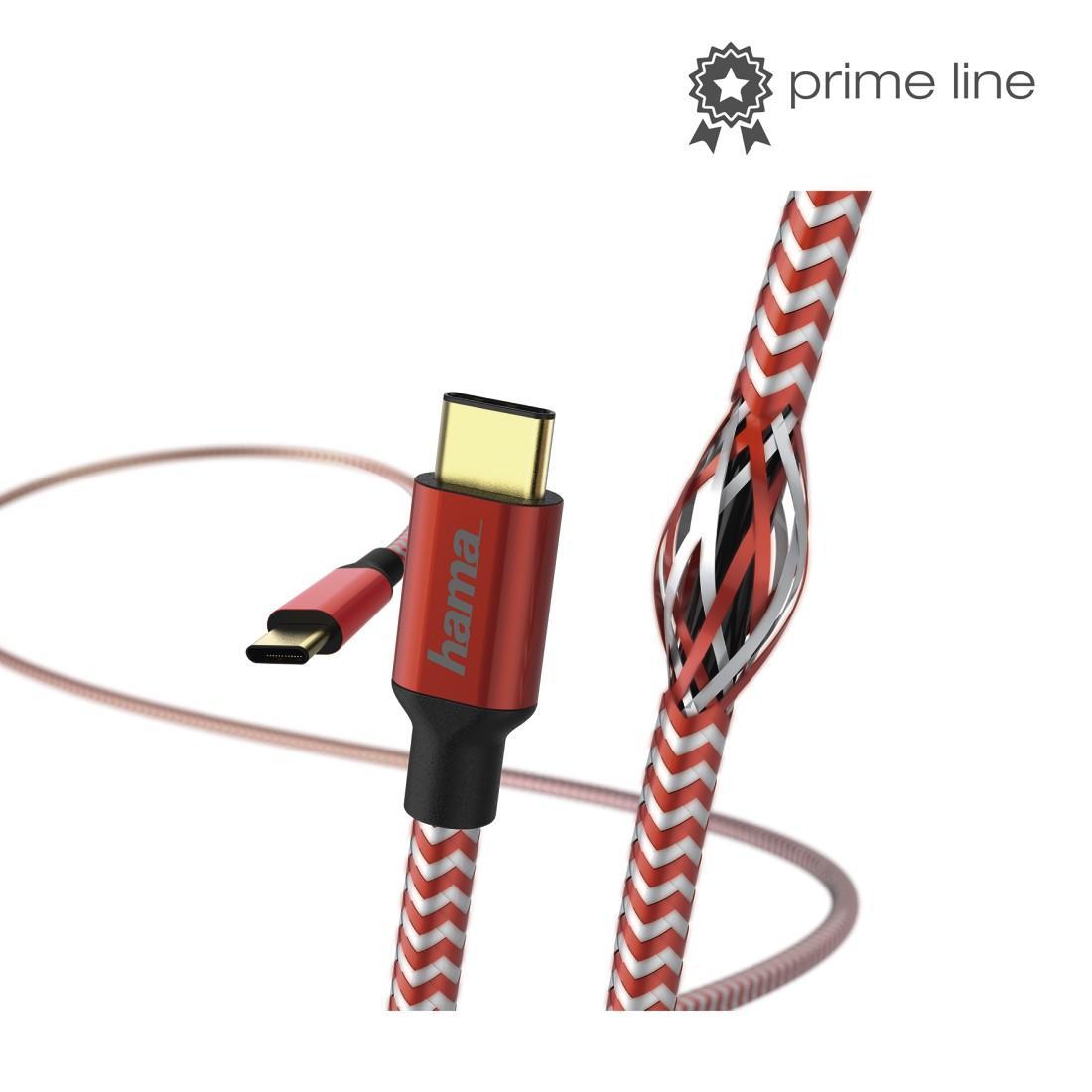 Кабел HAMA Reflective, USB-C мъжко - USB-C мъжко, 480 Mbps, 1.5 м., Червен-4