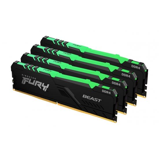 Памет Kingston FURY Beast Black RGB 32GB(4x8GB) DDR4 PC4-28800 3600MHz CL17 KF436C17BBAK4/32