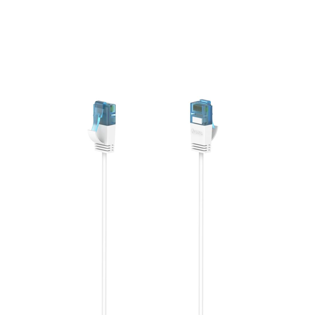 Мрежов кабел HAMA Flexi-Slim, U/UTP CAT 6a, 10 Gbit/s, RJ-45 - RJ45, 0.75 m, Бял