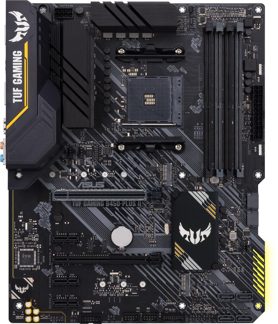 Дънна платка ASUS TUF GAMING B450-PLUS II, socket AM4, ATX, dual M.2, 4x DDR4, Aura Sync RGB, AI Noise-Canceling