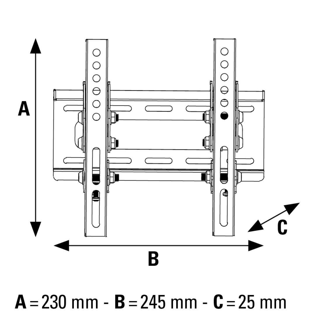 Стенна стойка за TV HAMA 108714, Фиксирана, 19-46, 25 кг, Черна-3