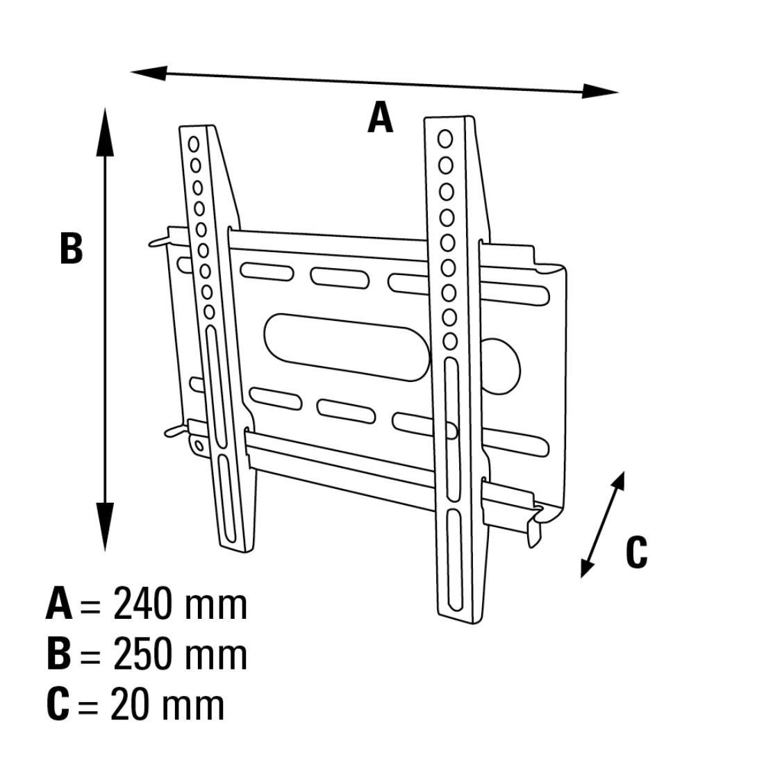 Стенна стойка HAMA Ultraslim 84424, Фиксирана, 19-37, 25 кг, Черна-4