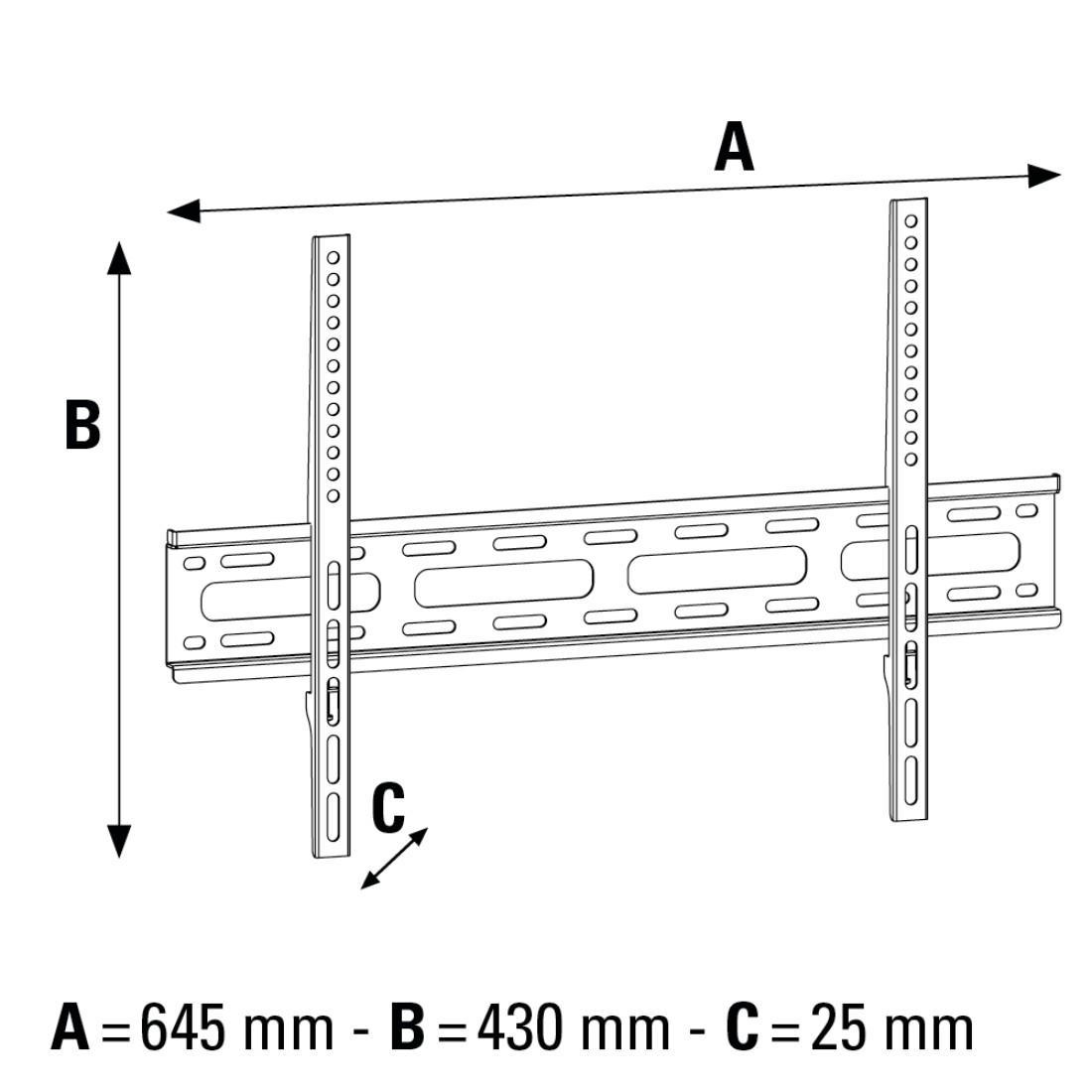 Стенна стойка за TV HAMA 108771, Фиксирана, 32-75, 35 кг, Черна-3