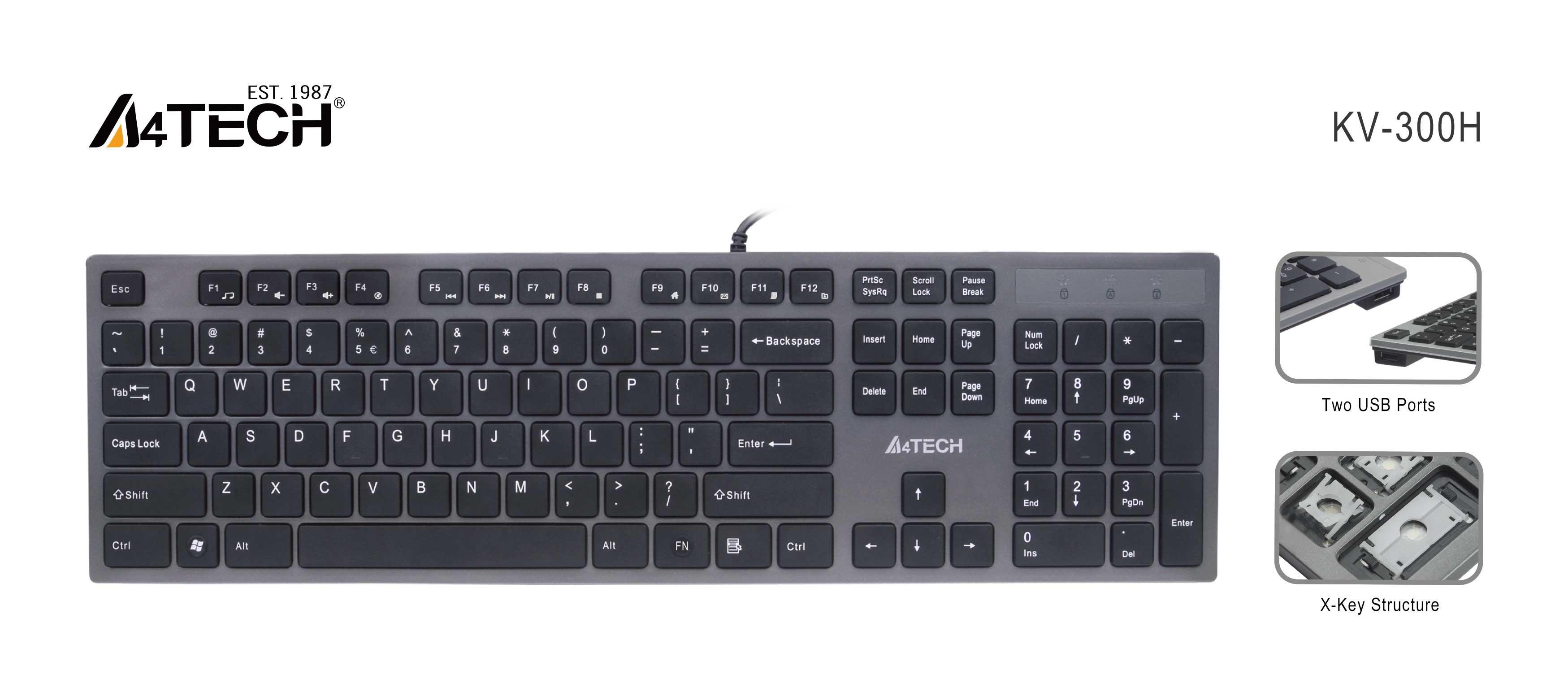 Клавиатура A4tech KV-300H, 2 х USB порт