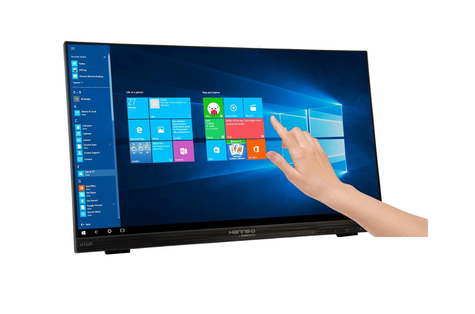 Тъч монитор HANNSPREE HT225HPB, LED, 21.5 inch, Wide, Full HD, Display Port, VGA, HDMI, Черен-2