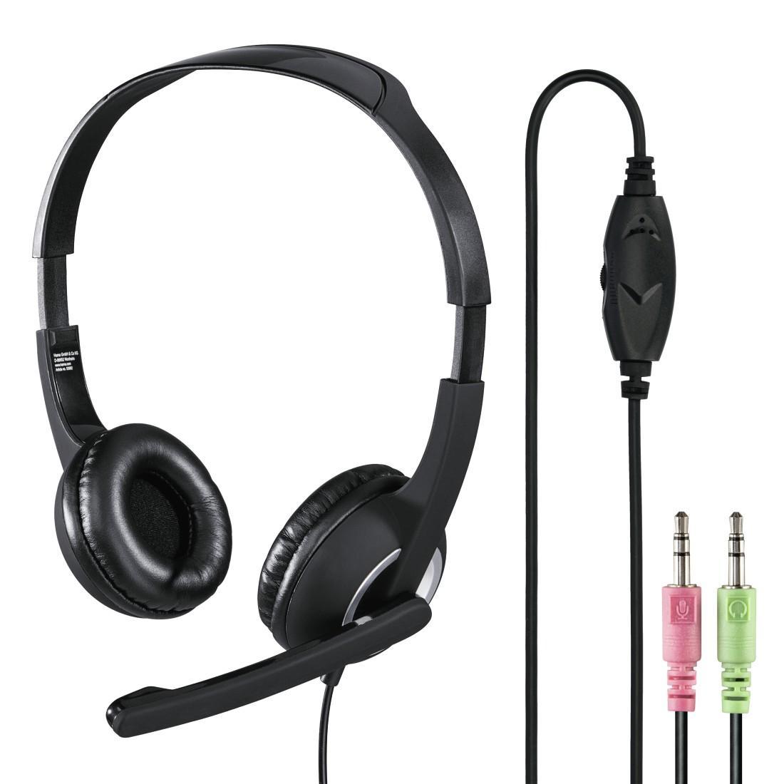 Слушалки с микрофон HAMA-53982/51616,Essential HS-300, Черен