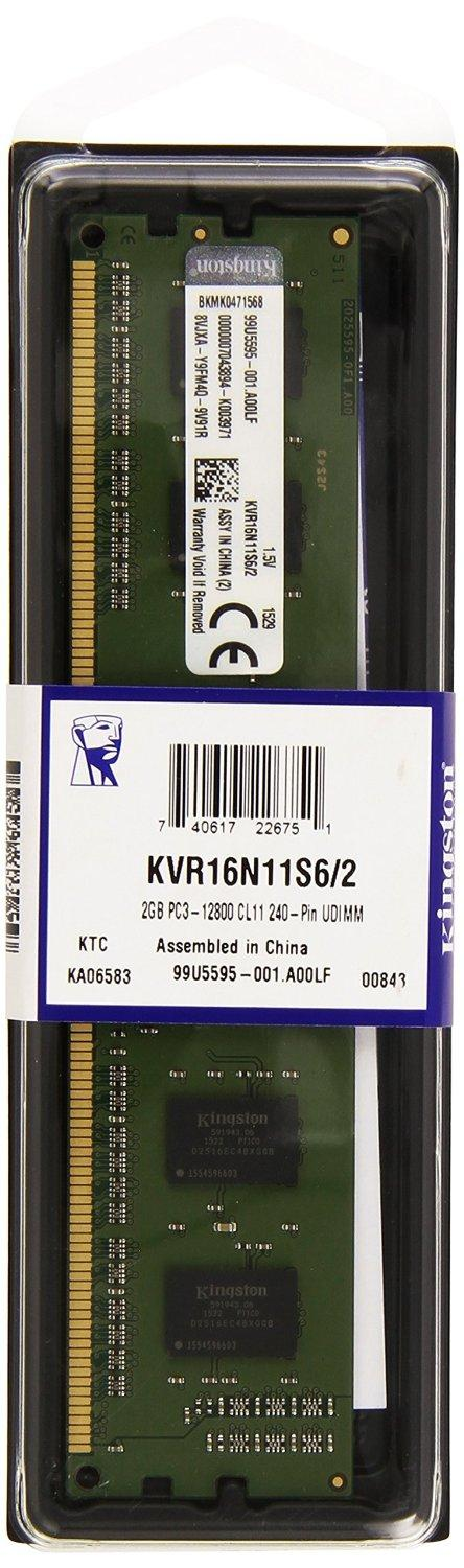 Памет KINGSTON 2GB DIMM, DDR3, 1600MHz, CL11, 1.5V