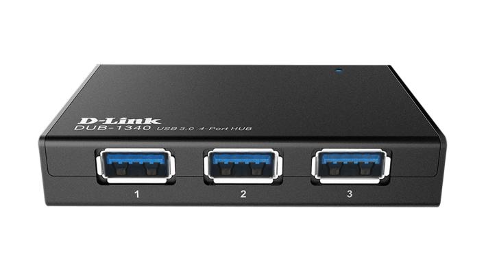 USB хъб D-Link DUB-1340/E със захранване, USB 3.0, Черен-2